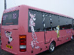 Chauffeur driven Pink Panther Party Bus limousine hire in Birmingham, Coventry, Dudley, Wolverhampton, Telford, Worcester, Walsall, Stafford, Midlands